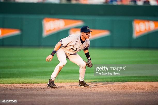 Derek Jeter of the New York Yankees during Game Five of the American League Championship Series against the Baltimore Orioles on October 13 1996 at...