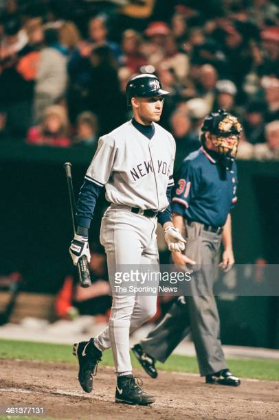 Derek Jeter of the New York Yankees during Game Three of the American League Championship Series against the Baltimore Orioles on October 11 1996 at...