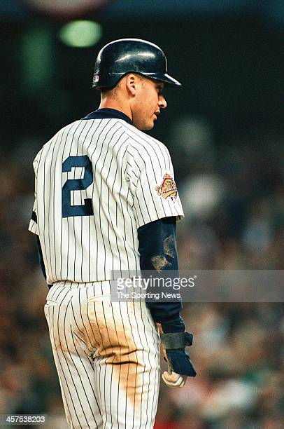 Derek Jeter of the New York Yankees during Game Two of the World Series against the Atlanta Braves on October 21 1996 at Yankee Stadium in Bronx New...