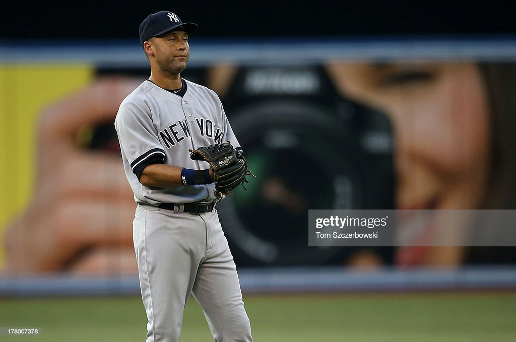 Derek Jeter #2 of the New York Yankees during his return from the disabled list during MLB game action against the Toronto Blue Jays on August 26, 2013 at Rogers Centre in Toronto, Ontario, Canada.