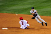 Derek Jeter of the New York Yankees forces Erick Aybar of the Los Angeles Angels of Anaheim out at second base during the fifth inning in Game Four...