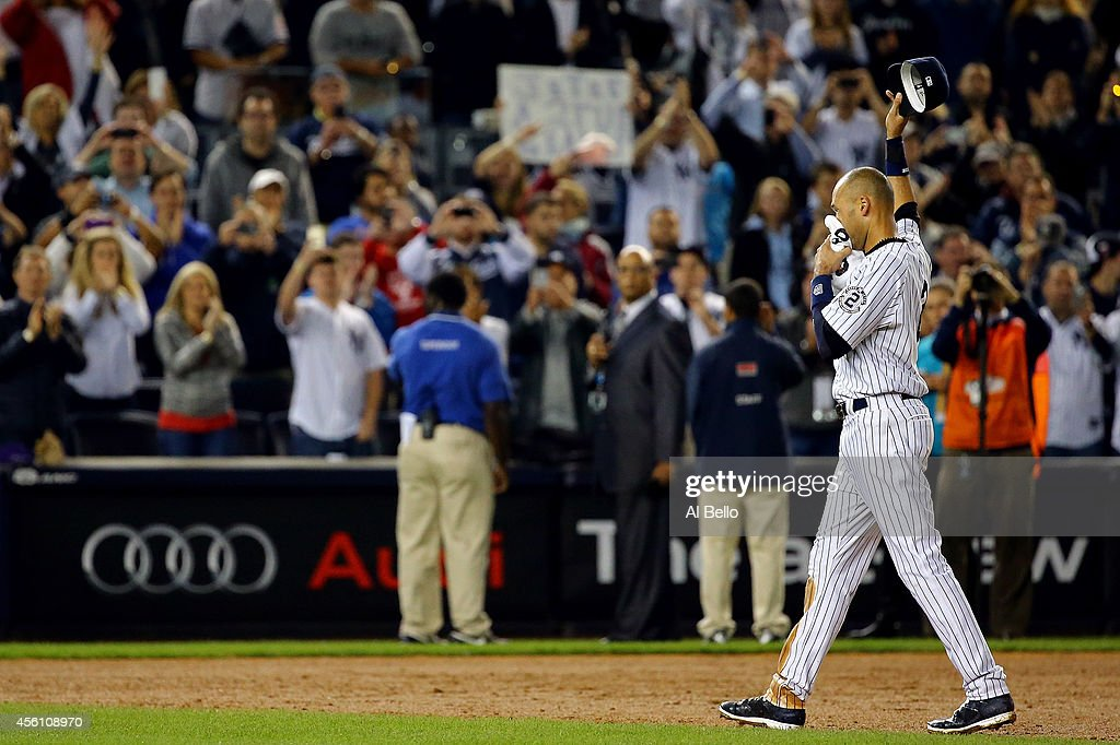 Derek Jeter #2 of the New York Yankees gestures to the fans after a game winning RBI hit in the ninth inning against the Baltimore Orioles in his last game ever at Yankee Stadium on September 25, 2014 in the Bronx borough of New York City.