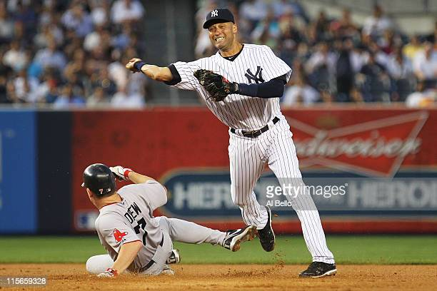 Derek Jeter of the New York Yankees gets the force out against JD Drew of the Boston Red Sox during their game on June 8 2011 at Yankee Stadium in...