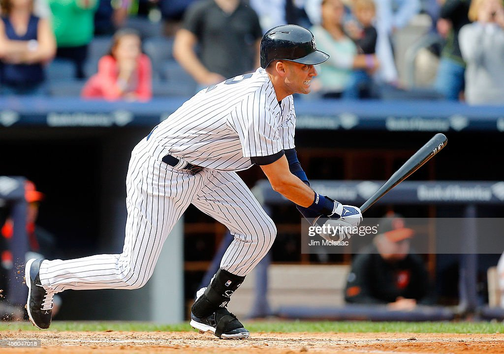 <a gi-track='captionPersonalityLinkClicked' href=/galleries/search?phrase=Derek+Jeter&family=editorial&specificpeople=167125 ng-click='$event.stopPropagation()'>Derek Jeter</a> #2 of the New York Yankees grounds out to end the fifth inning against the Baltimore Orioles at Yankee Stadium on September 24, 2014 in the Bronx borough of New York City.