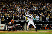 Derek Jeter of the New York Yankees hits against the Baltimore Orioles in his last game ever at Yankee Stadium on September 25 2014 in the Bronx...