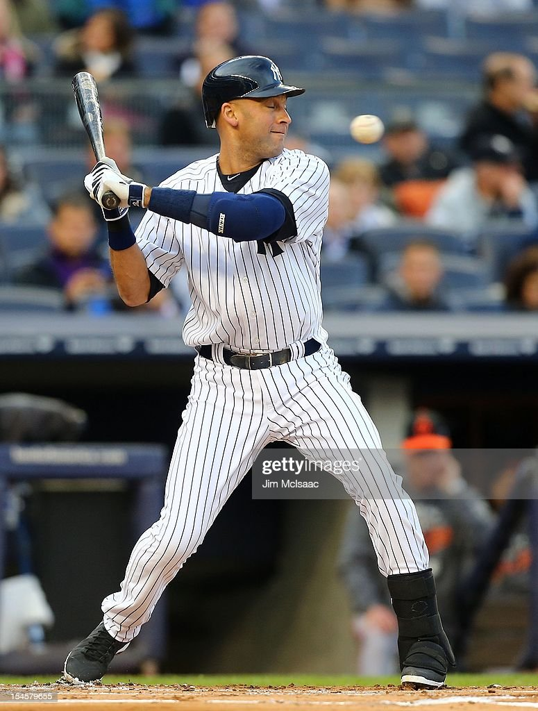 Derek Jeter #2 of the New York Yankees in action against the Baltimore Orioles during Game Five of the American League Division Series at Yankee Stadium on October 12, 2012 in the Bronx borough of New York City. The Yankees defeated the Orioles 3-1 to win their best of five series three games to two.