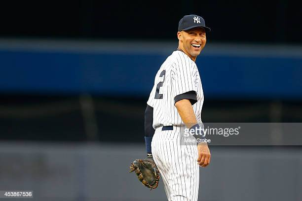 Derek Jeter of the New York Yankees in action against the Cleveland Indians at Yankee Stadium on August 8 2014 in the Bronx borough of New York City...