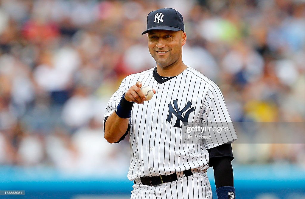 <a gi-track='captionPersonalityLinkClicked' href=/galleries/search?phrase=Derek+Jeter&family=editorial&specificpeople=167125 ng-click='$event.stopPropagation()'>Derek Jeter</a> #2 of the New York Yankees in action against the Tampa Bay Rays at Yankee Stadium on July 28, 2013 in the Bronx borough of New York City. The Yankees defeated the Rays 6-5.