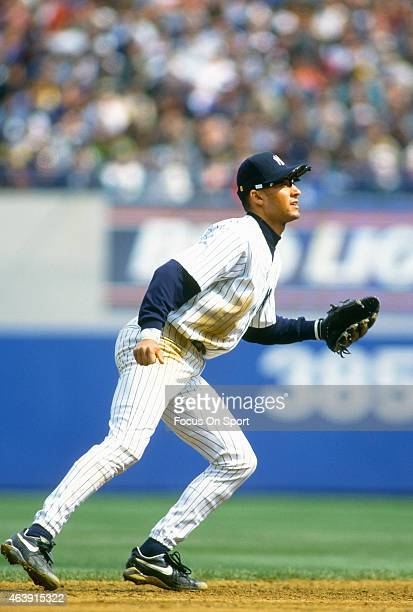 Derek Jeter of the New York Yankees in action during an Major League Baseball game circa 1996 at Yankee Stadium in the Bronx borough of New York City...