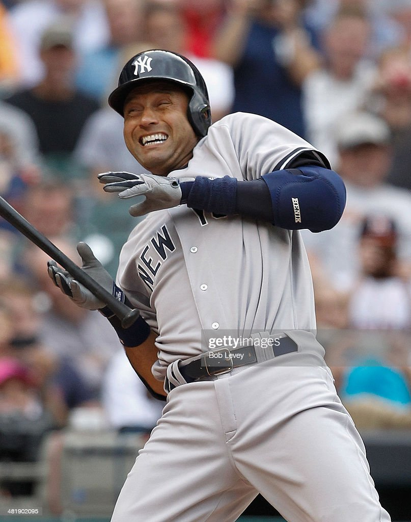 <a gi-track='captionPersonalityLinkClicked' href=/galleries/search?phrase=Derek+Jeter&family=editorial&specificpeople=167125 ng-click='$event.stopPropagation()'>Derek Jeter</a> #2 of the New York Yankees is hit by a pitch in the first inning against the Houston Astros at Minute Maid Park on April 1, 2014 in Houston, Texas.