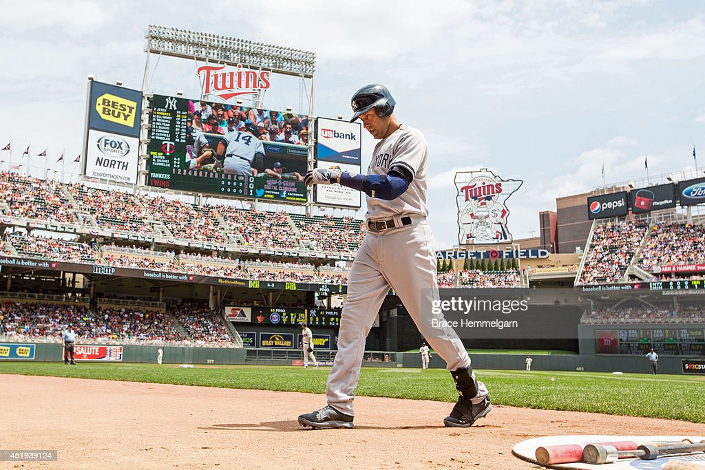 Derek Jeter #2 of the New York Yankees looks on against the Minnesota Twins on July 5, 2014 at Target Field in Minneapolis, Minnesota. The Twins defeated the Yankees 2-1.