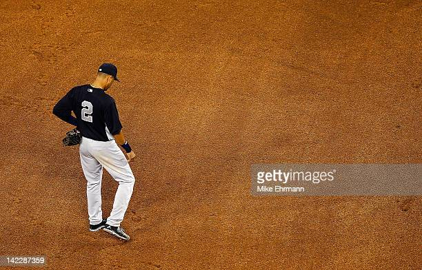 Derek Jeter of the New York Yankees looks on during a game against the Miami Marlins at Marlins Park on April 1 2012 in Miami Florida