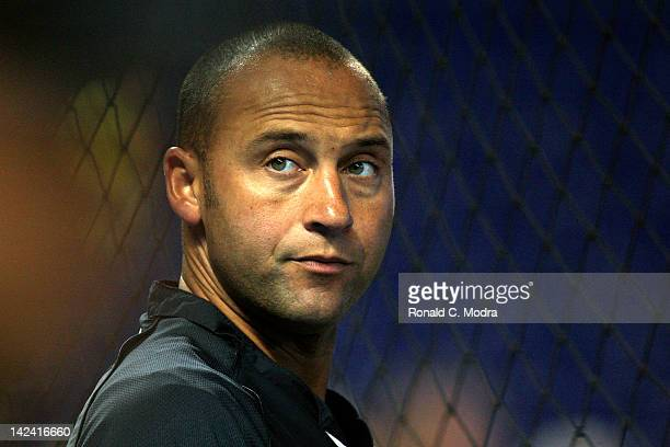 Derek Jeter of the New York Yankees looks on prior to a preseason game against the Miami Marlins at Marlins Park on April 2 2012 in Miami Florida