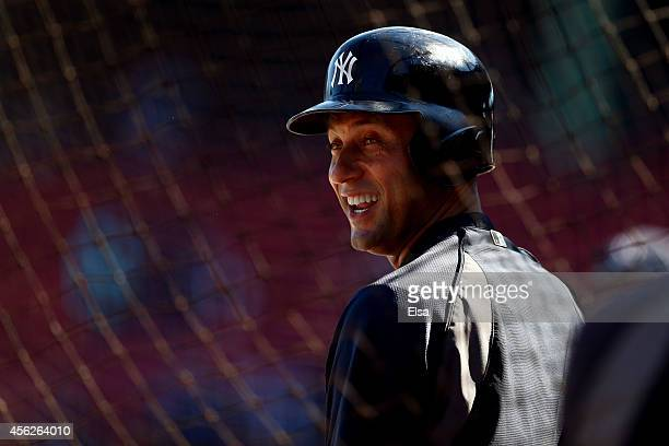 Derek Jeter of the New York Yankees on the field prior to the last game of the season against the Boston Red Sox at Fenway Park on September 28 2014...