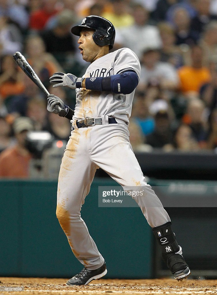 Derek Jeter #2 of the New York Yankees reacts after almost being hit by a pitch against the Houston Astros at Minute Maid Park on April 1, 2014 in Houston, Texas.