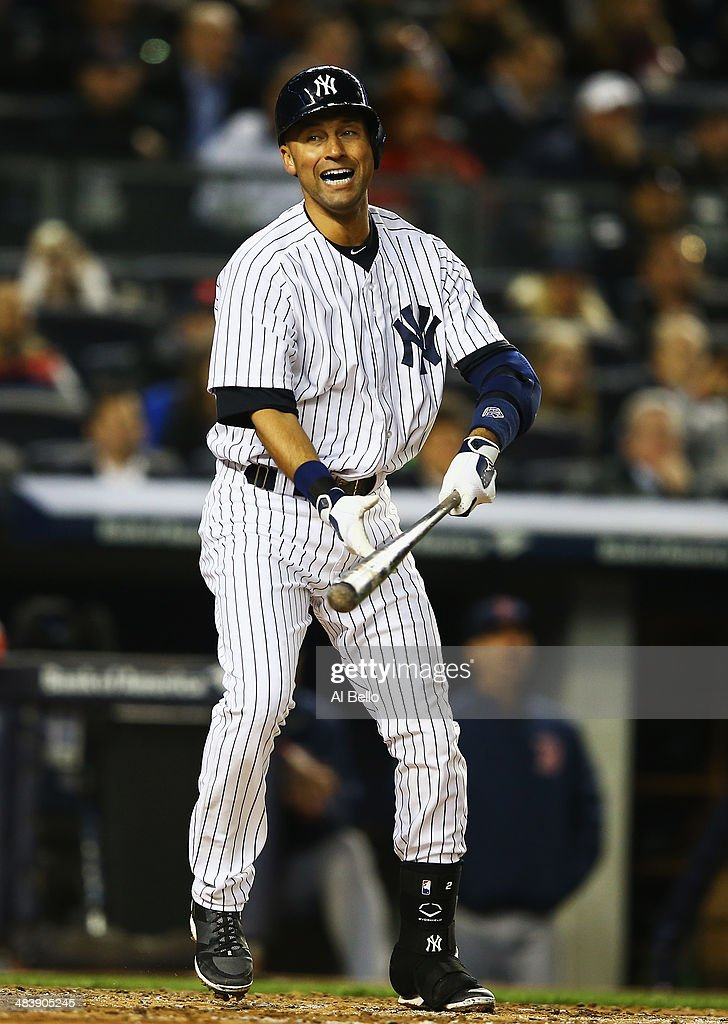Derek Jeter #2 of the New York Yankees reacts after hitting a foul ball against the Boston Red Sox during their game at Yankee Stadium on April 10, 2014 in the Bronx borough of New York City.