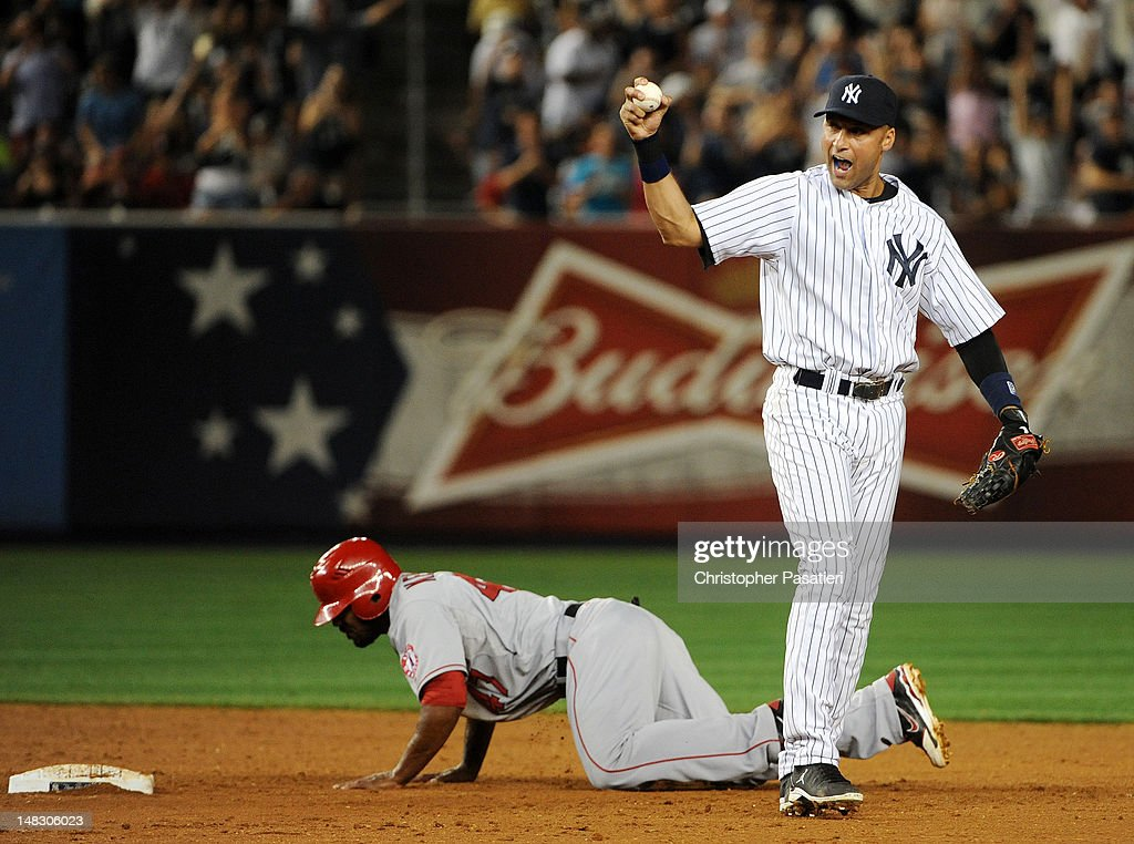 Derek Jeter #2 of the New York Yankees reacts after tagging out Howard Kendrick #47 of the Los Angeles Angels of Anaheim to end the game at Yankee Stadium on July 13, 2012 in the Bronx borough of New York City.