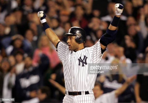 Derek Jeter of the New York Yankees reacts against the Los Angeles Angels of Anaheim during Game Four of the American League Division Series at...