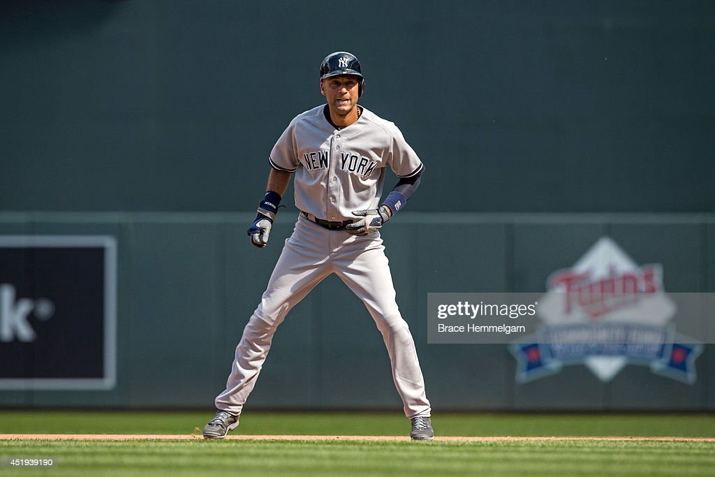 <a gi-track='captionPersonalityLinkClicked' href=/galleries/search?phrase=Derek+Jeter&family=editorial&specificpeople=167125 ng-click='$event.stopPropagation()'>Derek Jeter</a> #2 of the New York Yankees runs against the Minnesota Twins on July 5, 2014 at Target Field in Minneapolis, Minnesota. The Twins defeated the Yankees 2-1.