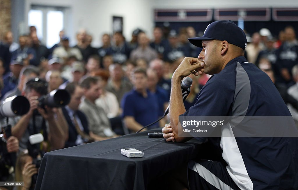 Derek Jeter of the New York Yankees speaks at a media availability after announcing that the 2014 season will be his last before retiring at George M...