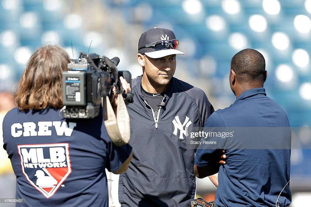 Derek Jeter #2 of the New York Yankees speaks with the media prior to a game against the Boston Red Sox at George M. Steinbrenner Field on March 18, 2014 in Tampa, Florida.