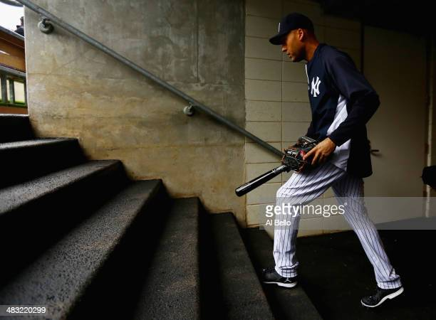 Derek Jeter of the New York Yankees steps on to the field for batting practice before the game against the Baltimore Orioles on April 7 2014 at...