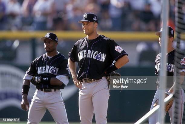 Derek Jeter of the New York Yankees takes infield practice for the American League team before the 1998 MLB AllStar Game against the National League...