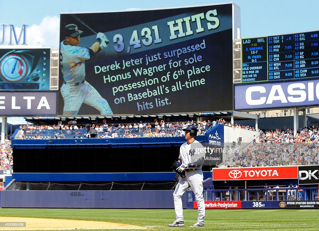 <a gi-track='captionPersonalityLinkClicked' href=/galleries/search?phrase=Derek+Jeter&family=editorial&specificpeople=167125 ng-click='$event.stopPropagation()'>Derek Jeter</a> #2 of the New York Yankees walks back to first base after running out a sixth inning infield base hit against the Cleveland Indians at Yankee Stadium on August 9, 2014 in the Bronx borough of New York City. The hit was Jeter's 3,431st career hit moving him past Honus Wagner and into sixth on the all-time hit list.