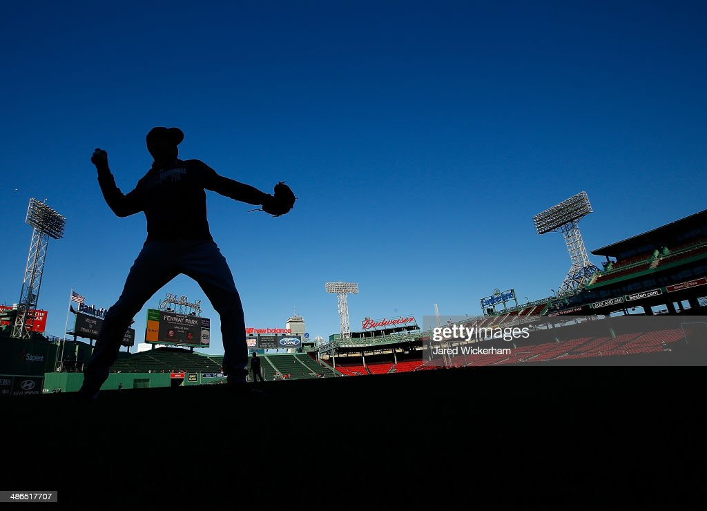 Derek Jeter of the New York Yankees warms up prior to the game against the Boston Red Sox at Fenway Park on April 24 2014 in Boston Massachusetts