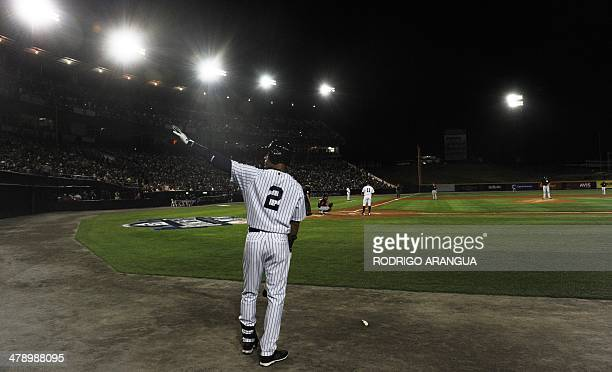 Derek Jeter of the New York Yankees waves during an exhibition game in Panama City on March 15 2014 Panama will get a taste of Major League Baseball...