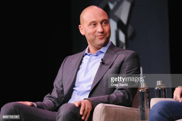 Derek Jeter speaks onstage for Derek Jeter On Finding Professional Fulfillment After The Dream Career Featuring Derek Jeter Founder The Players'...