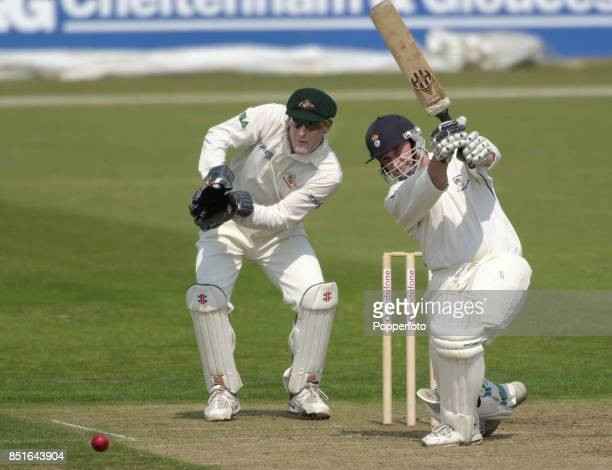 Derek Kenway of Hampshire batting alongside wicketkeeper Wade Seccombe of Australia during the FirstClass Tour match between Hampshire and Australia...