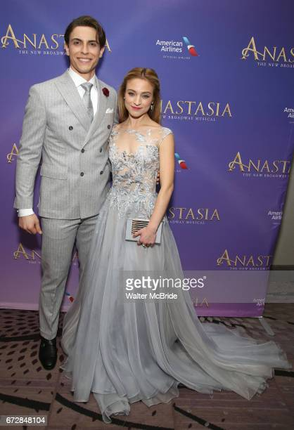 Derek Klena and Christy Altomare attend Broadway Opening Night After Party for 'Anastasia' at the Mariott Marquis Hotel on April 24 2017 in New York...