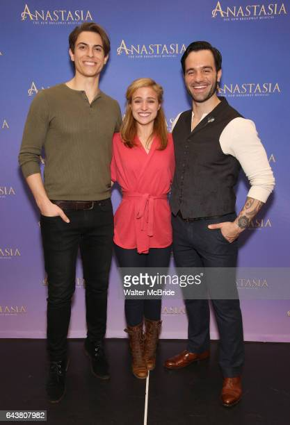 Derek Klena Christy Altomare and Ramin Karimloo attend the ''Anastasia' Cast Photo Call at the New 42nd Street Studios on February 22 2017 in New...