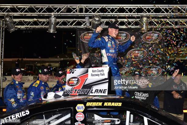 Derek Kraus driver of the Carlyle Tools Toyota celebrates after winning the NASCAR KN Pro Series West Coast Stock Car Hall of Fame Championship 150...