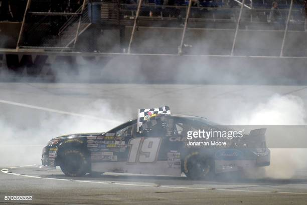 Derek Kraus driver of the Carlyle Tools Toyota celebrates with a burnout after winning the NASCAR KN Pro Series West Coast Stock Car Hall of Fame...