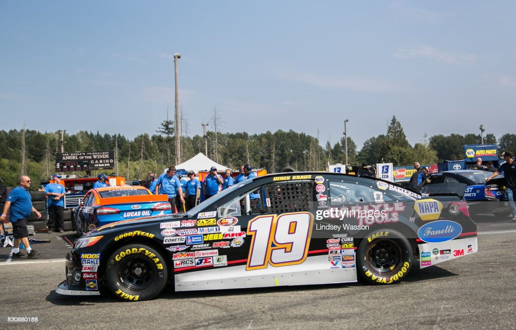 Derek Kraus #19 heads back out on to the track during final practice before the NASCAR K&N Pro Series West NAPA Auto Parts 150 on August 12, 2017 at Evergreen Speedway in Monroe, Washington.