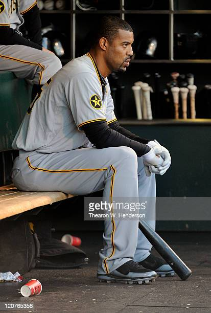 Derek Lee of the Pittsburgh Pirates looks on from the dugout against the San Francisco Giants during an MLB baseball game at ATT Park August 8 2011...