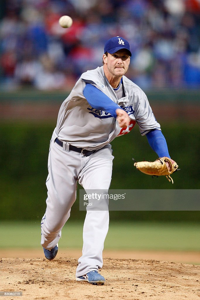 Derek Lowe #23 of the Los Angeles Dodgers throws a pitch against the Chicago Cubs in Game One of the NLDS during the 2008 MLB Playoffs at Wrigley Field on October 1, 2008 in Chicago, Illinois.