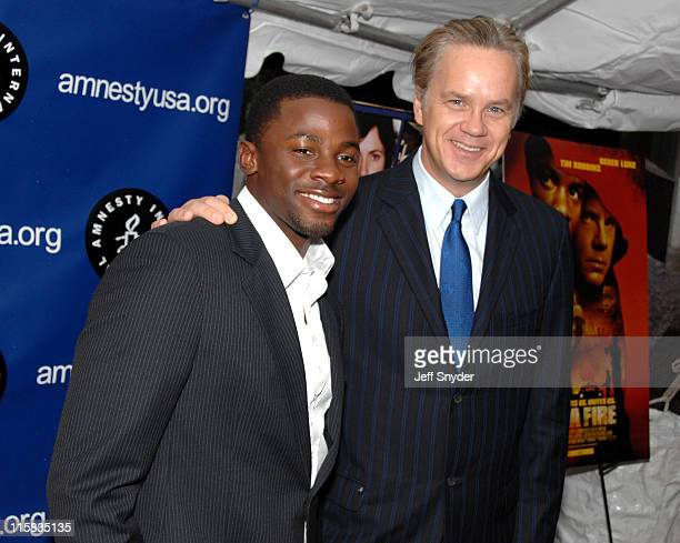 Derek Luke and Tim Robbins during 2006 Amnesty International Film Festival 'Catch a Fire' Premiere at National Geographic Society in Washington DC