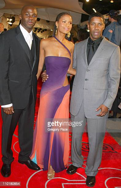 Derek Luke Joy Bryant and Denzel Washington during 2002 GQ Men of the Year Awards at Hammerstein Ballroom in New York City New York United States