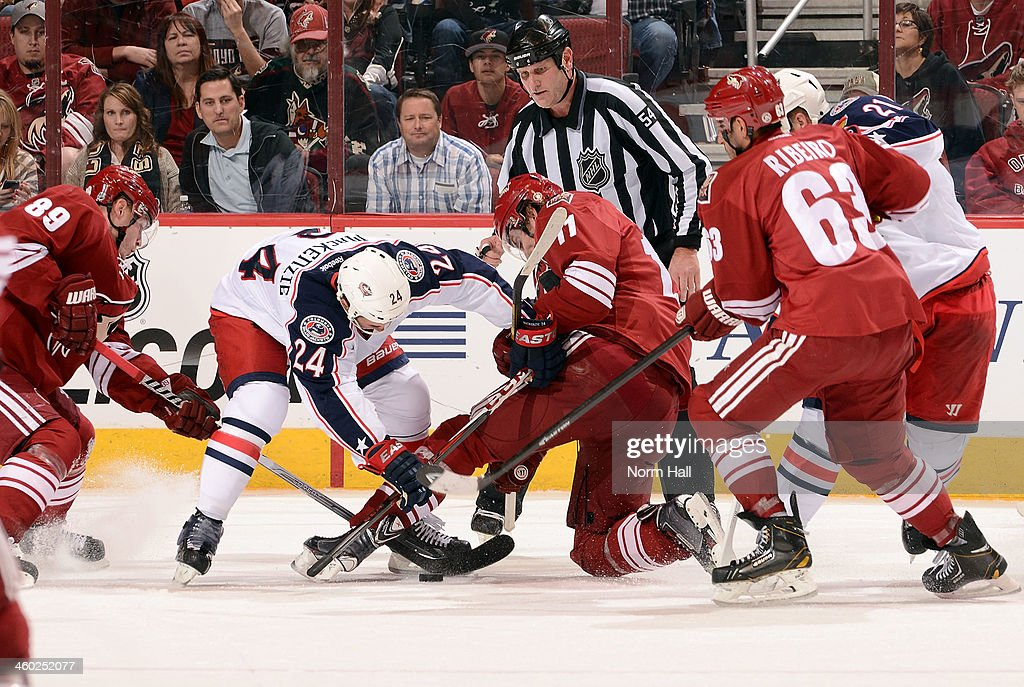 <a gi-track='captionPersonalityLinkClicked' href=/galleries/search?phrase=Derek+MacKenzie&family=editorial&specificpeople=685877 ng-click='$event.stopPropagation()'>Derek MacKenzie</a> #24 of the Columbus Blue Jackets and <a gi-track='captionPersonalityLinkClicked' href=/galleries/search?phrase=Martin+Hanzal&family=editorial&specificpeople=2109469 ng-click='$event.stopPropagation()'>Martin Hanzal</a> #11 of the Phoenix Coyotes battle for a faceoff as <a gi-track='captionPersonalityLinkClicked' href=/galleries/search?phrase=Mikkel+Boedker&family=editorial&specificpeople=4697252 ng-click='$event.stopPropagation()'>Mikkel Boedker</a> #89 and <a gi-track='captionPersonalityLinkClicked' href=/galleries/search?phrase=Mike+Ribeiro&family=editorial&specificpeople=203275 ng-click='$event.stopPropagation()'>Mike Ribeiro</a> #63 of the Coyotes look for the puck during the third period at Jobing.com Arena on January 2, 2014 in Glendale, Arizona.