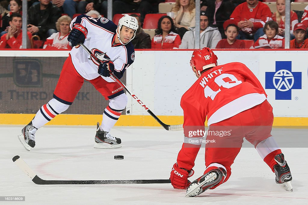 Derek MacKenzie #24 of the Columbus Blue Jackets passes the puck over the stick of Ian White #18 of the Detroit Red Wings during a NHL game at Joe Louis Arena on February 21, 2013 in Detroit, Michigan. Columbus won 3-2