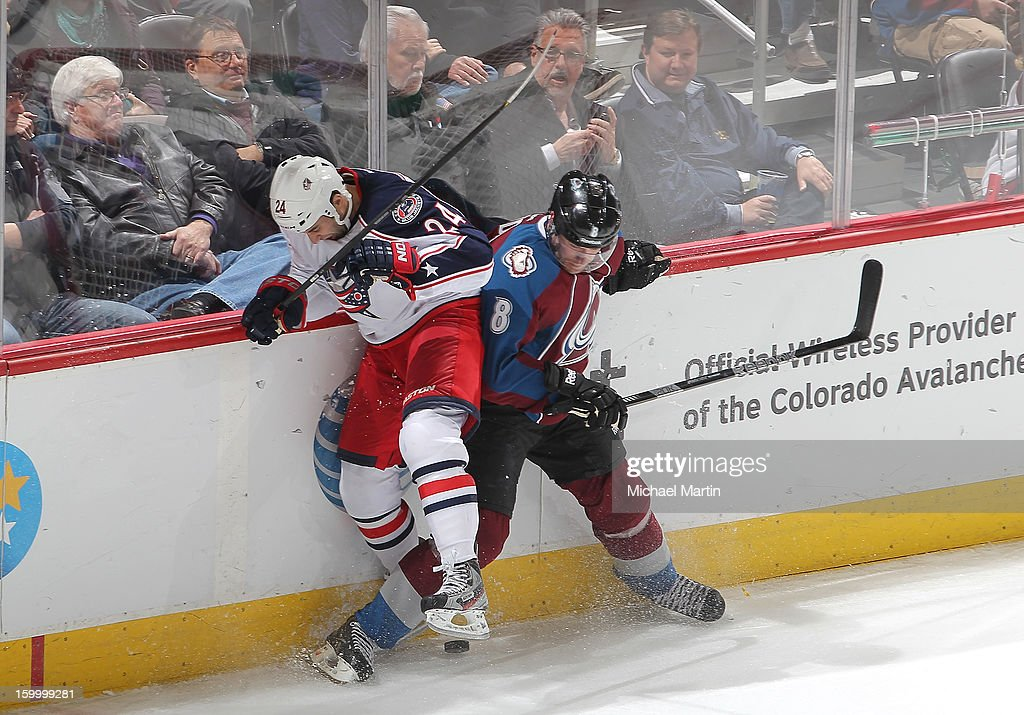 <a gi-track='captionPersonalityLinkClicked' href=/galleries/search?phrase=Derek+MacKenzie&family=editorial&specificpeople=685877 ng-click='$event.stopPropagation()'>Derek MacKenzie</a> #24 of the Columbus Blue Jackets skates against <a gi-track='captionPersonalityLinkClicked' href=/galleries/search?phrase=Jan+Hejda&family=editorial&specificpeople=624333 ng-click='$event.stopPropagation()'>Jan Hejda</a> #8 of the Colorado Avalanche at the Pepsi Center on January 24, 2013 in Denver, Colorado.