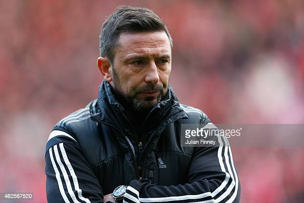 Derek McInnes manager of Aberdeen looks on during the Scottish League Cup SemiFinal match between Dundee United and Aberdeen at Hampden Park on...