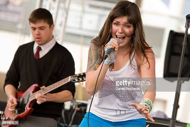 Derek Miller and Alexis Krauss of Sleigh Bells perform at Carniville during the third day of SXSW on March 19 2010 in Austin Texas