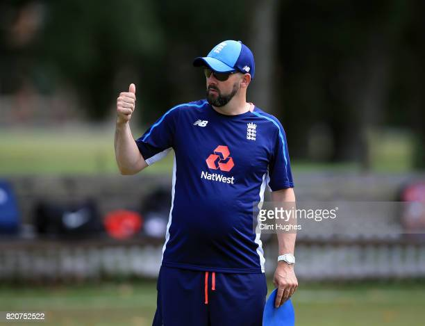 Derek Morgan head coach of England during the T20 INAS TriSeries against Australia at Toft Cricket Club on July 18 2017 in Knutsford England