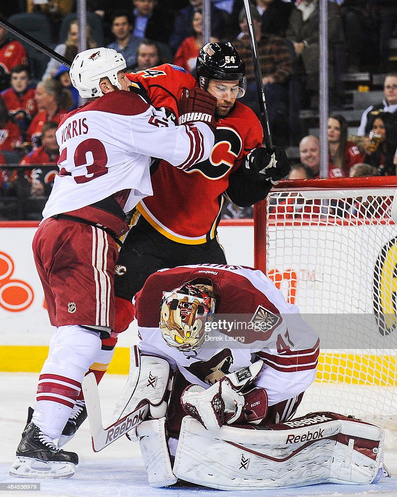 <a gi-track='captionPersonalityLinkClicked' href=/galleries/search?phrase=Derek+Morris&family=editorial&specificpeople=204188 ng-click='$event.stopPropagation()'>Derek Morris</a> #53 of the Phoenix Coyotes protects the net of his goaltender Mike Smith #41 by shoving David Jones #54 of the Calgary Flames during an NHL game at Scotiabank Saddledome on January 22, 2014 in Calgary, Alberta, Canada. The Flames defeated the Coyotes 3-2.