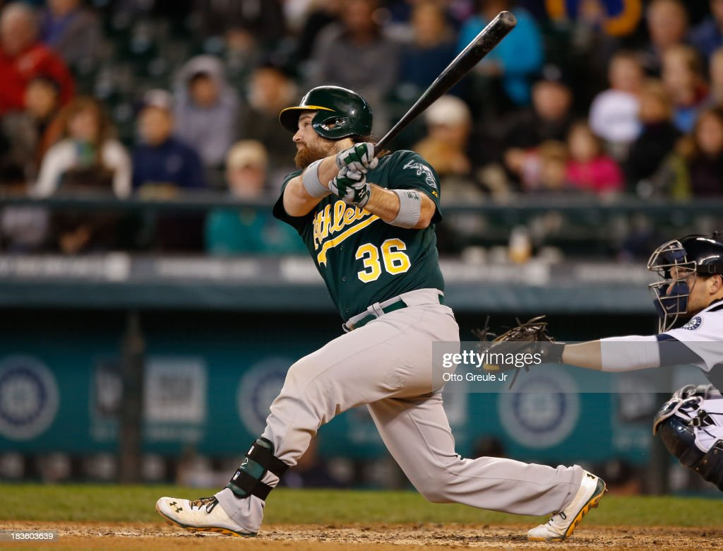 <a gi-track='captionPersonalityLinkClicked' href=/galleries/search?phrase=Derek+Norris&family=editorial&specificpeople=6795804 ng-click='$event.stopPropagation()'>Derek Norris</a> #36 of the Oakland Athletics bats against the Seattle Mariners at Safeco Field on September 29, 2013 in Seattle, Washington.