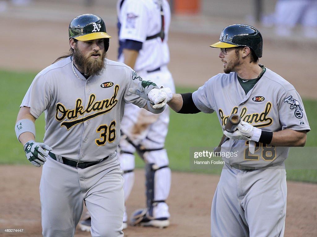 <a gi-track='captionPersonalityLinkClicked' href=/galleries/search?phrase=Derek+Norris&family=editorial&specificpeople=6795804 ng-click='$event.stopPropagation()'>Derek Norris</a> #36 of the Oakland Athletics celebrates hitting a solo home run against the Minnesota Twins with teammate <a gi-track='captionPersonalityLinkClicked' href=/galleries/search?phrase=Eric+Sogard&family=editorial&specificpeople=6796459 ng-click='$event.stopPropagation()'>Eric Sogard</a> #28 during the sixth inning of the home opening game on April 7, 2014 at Target Field in Minneapolis, Minnesota. The Athletics defeated the Twins 8-3.